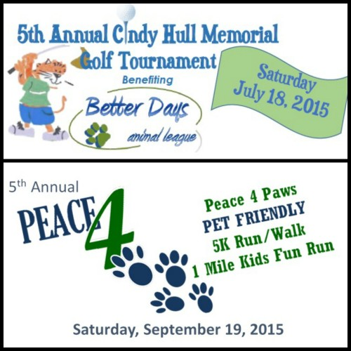 Registration is open for our 5th Annual Cindy Hull Memorial Golf Tournament and 5th Annual Peace 4 Paws 5K Walk/Run.  Visit the events page to register!