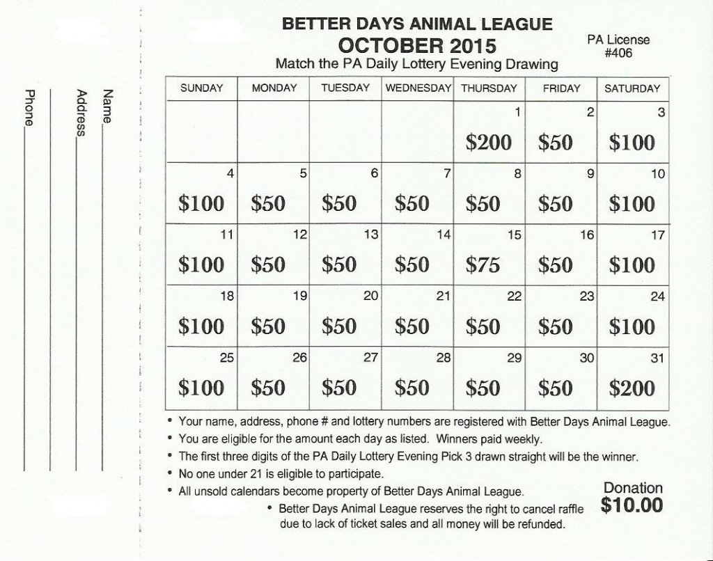 october 2015 bdal lottery raffle better days animal league